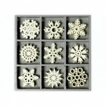 Wooden Crystal Snowflake Shapes Embellishment Box