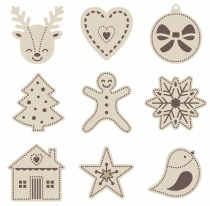 Mini Wooden Christmas Embellishment Set, 27 pieces