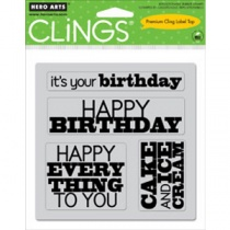 Birthday Cling Set of Four Stamps