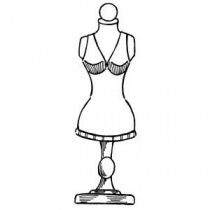 Dressmakers Mannequin Dummy Wood Mounted Stamp
