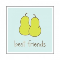Best Friends Two Pears Wooden Stamp