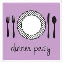 Dinner Party Wooden Stamp, 4cm x 3.5cm