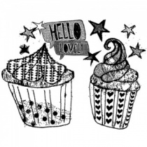 Hello Cupcake Unmounted Stamp by Alice Palace