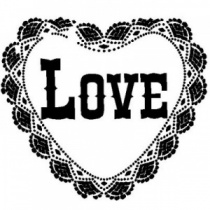 Love Lace Heart Clear Stamp
