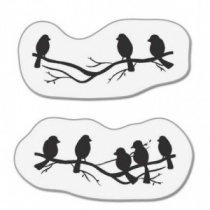 Small birds on branches mini stamp set