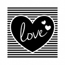 Square love heart stamp (3.5cm) & acrylic block