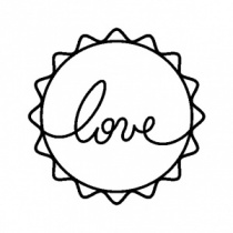 Handwritten Love stamp (3.5cm diameter) & acrylic block