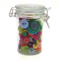 Spice jar of bright buttons