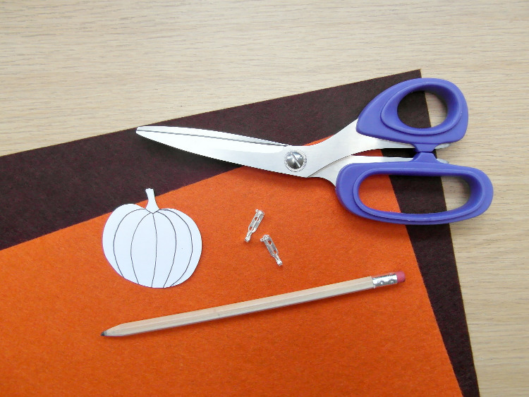 Coloured felt and pumpkin template